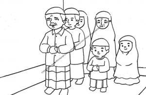 Gambar Mewarnai Satu Keluarga sedang Shalat Berjamaah (23)