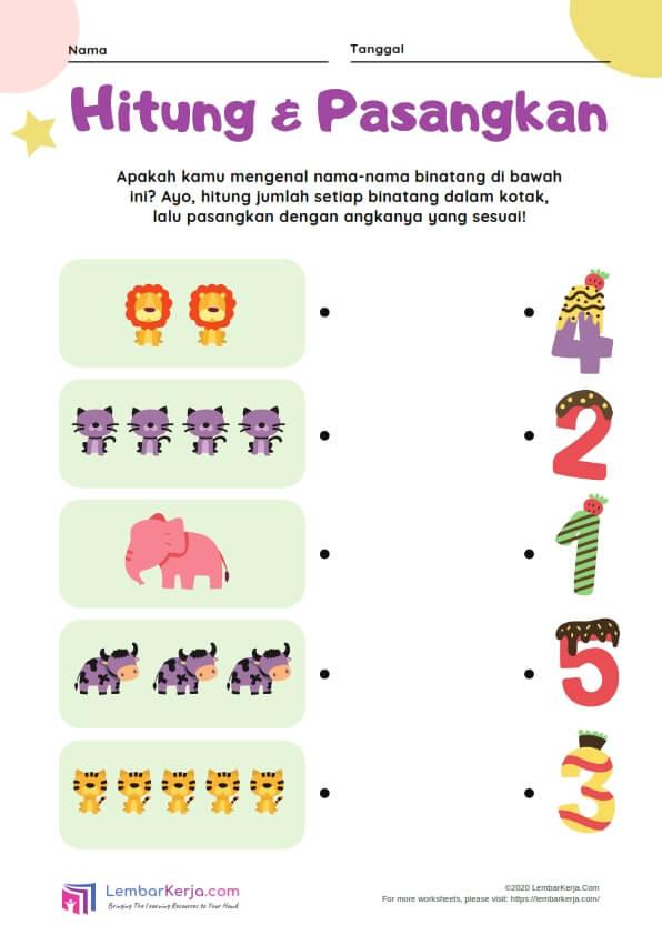 Hitung dan Pasangkan Hewan dengan Pasangan Angka yang Sesuai (10)