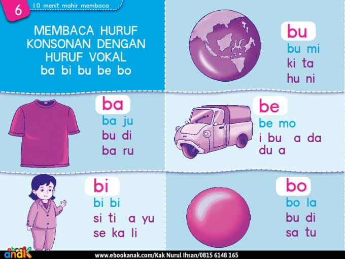 Membaca Huruf Konsonan dengan Huruf Vokal ba bi bu be bo