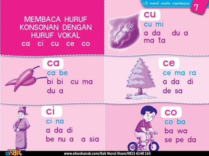 Membaca Huruf Konsonan dengan Huruf Vokal ca ci cu ce co