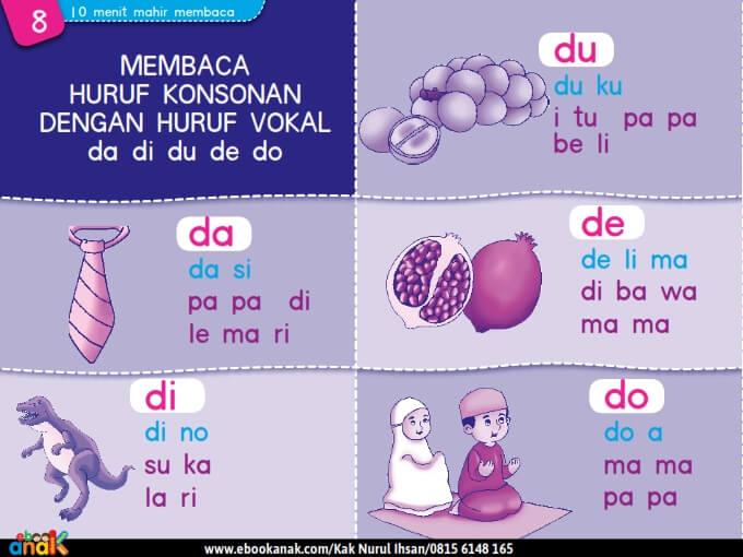 Membaca Huruf Konsonan dengan Huruf Vokal da di du de do