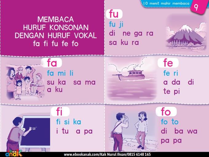 Membaca Huruf Konsonan dengan Huruf Vokal fa fi fu fe fo