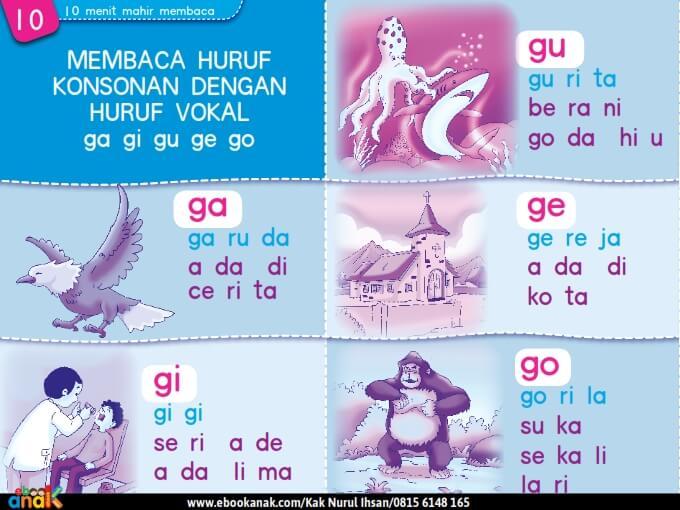 Membaca Huruf Konsonan dengan Huruf Vokal ga gi gu ge go