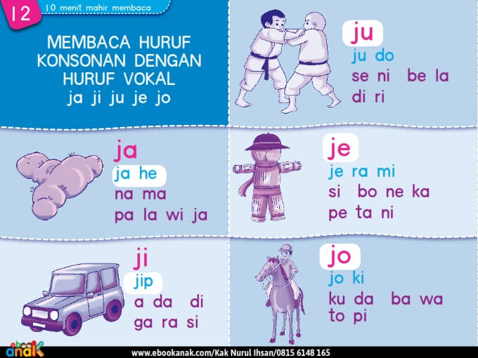 Membaca Huruf Konsonan dengan Huruf Vokal ja ji ju je jo
