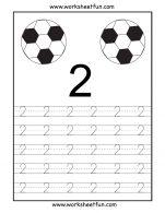 Menebalkan Angka 2 dan Mewarnai 2 Bola