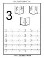 Menebalkan Angka 3 dan Mewarnai 3 Buku