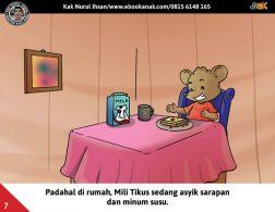 Moli Tikus Lupa Waktu, Mili Tikus Asyik Sarapan dan Minum Susu (7)