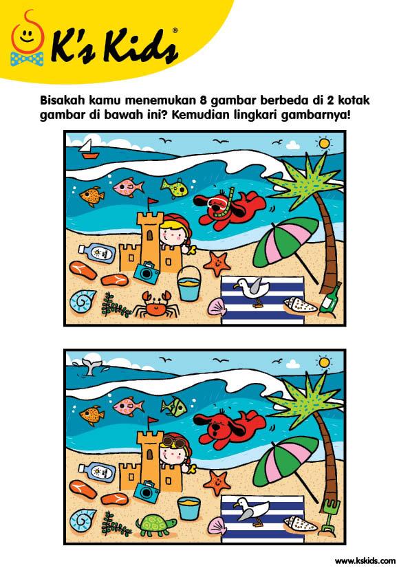 Worksheet Mencari Perbedaan Gambar Bermain di Pantai 3