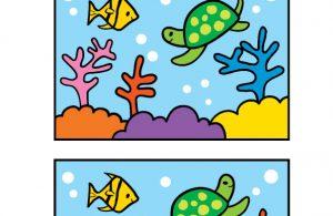 Worksheet Mencari Perbedaan Gambar Ikan di Laut 1