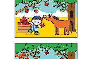 Worksheet Mencari Perbedaan Gambar Memberi Makan Kuda 4