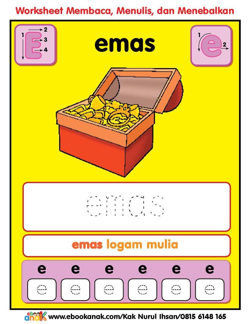 Worksheets Alfabet Ee Emas