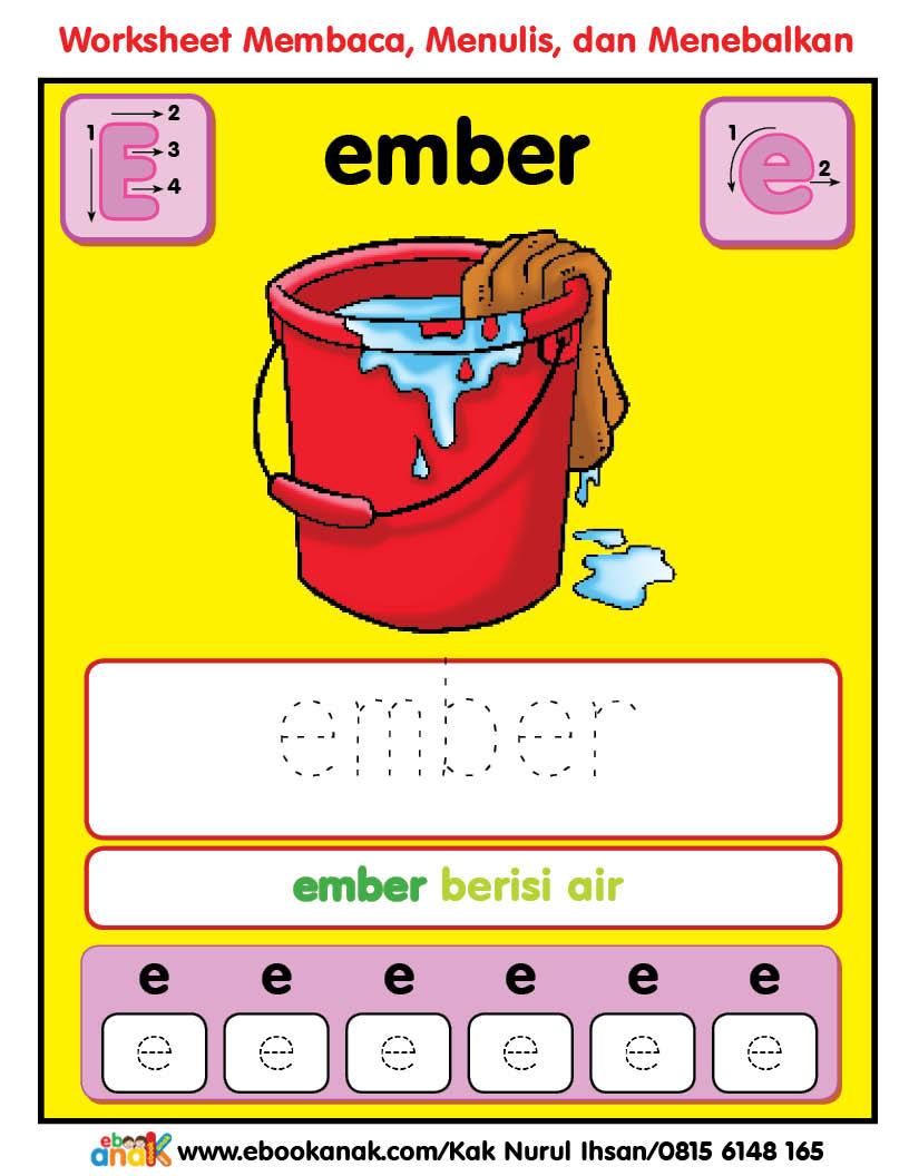 Worksheets Pintar Belajar Alfabet: Ee Ember
