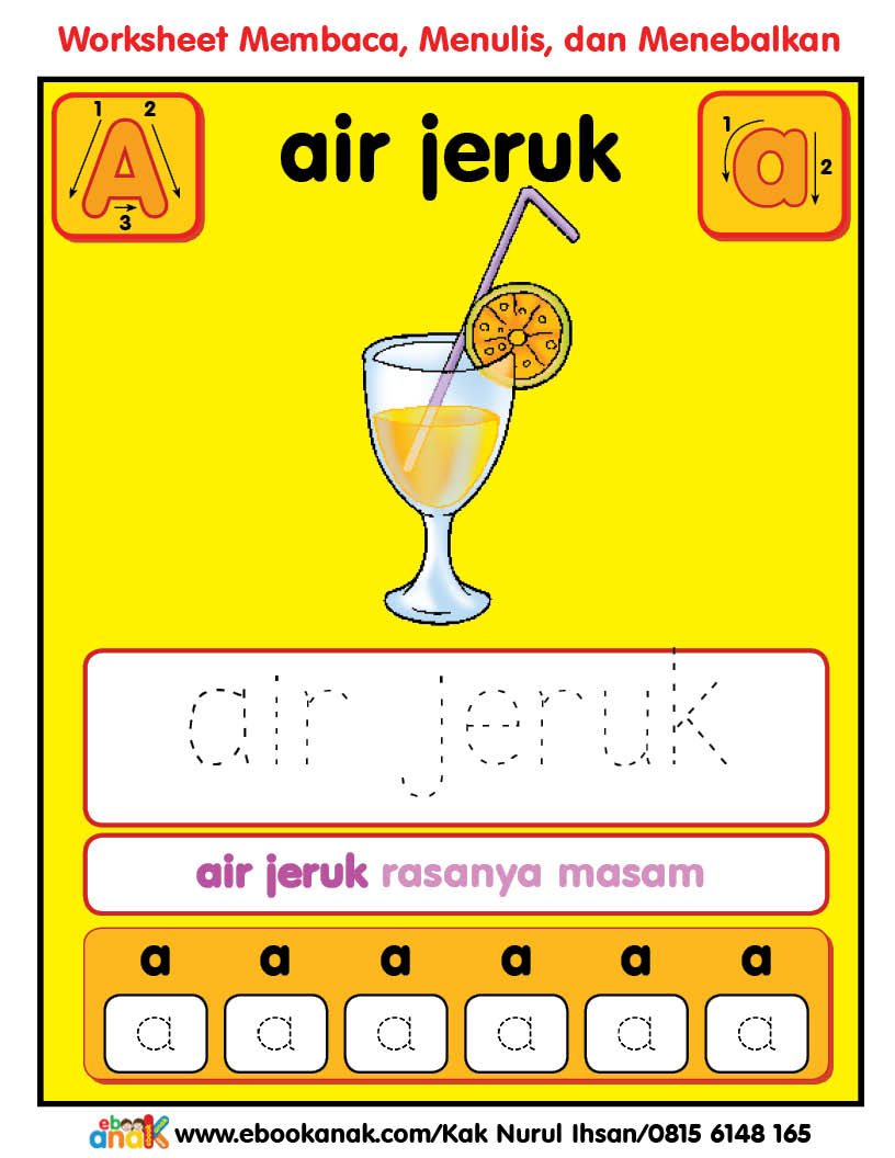 Worksheets Alphabet Aa Air Jeruk