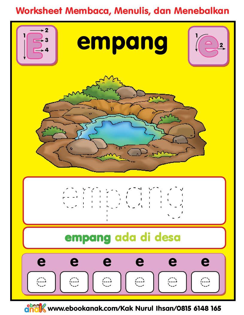 Worksheets Pintar Belajar Alfabet Ee Ember