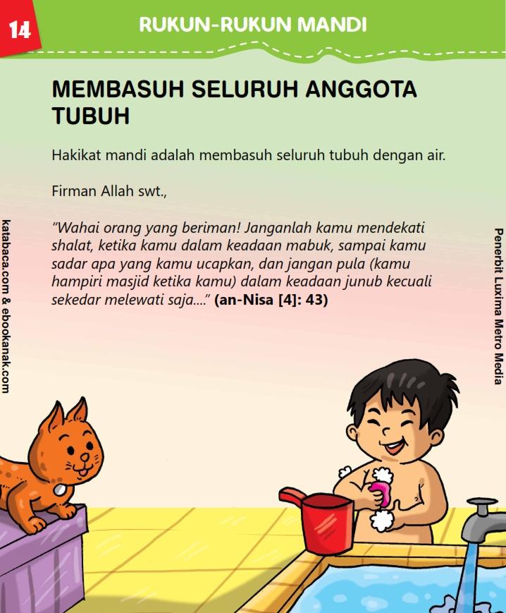 baca buku anak online, fikih islam jilid 3_018 Rukun Mandi Membasuh Seluruh Anggota Tubuh