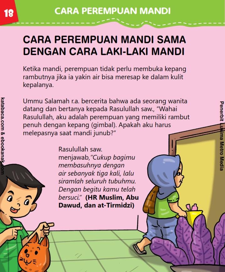 baca buku anak online, fikih islam jilid 3_022 Cara Perempuan Mandi Sesuai Sunnah Rasul