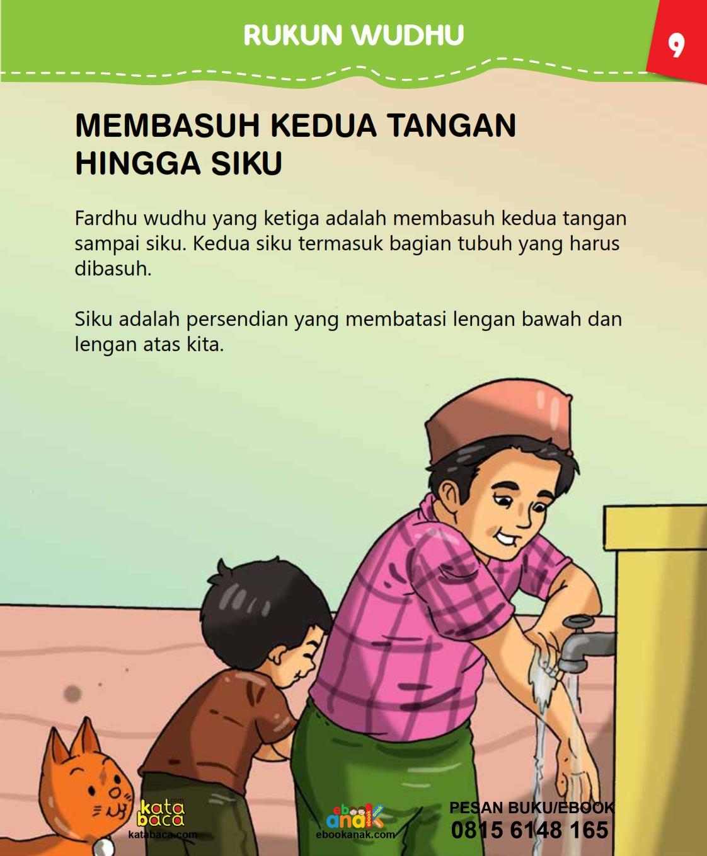 baca buku islam online, fiqih islam bergambar for kids jilid 02_013 Batas Berwudhu Ketika Membasuh Kedua Tangan
