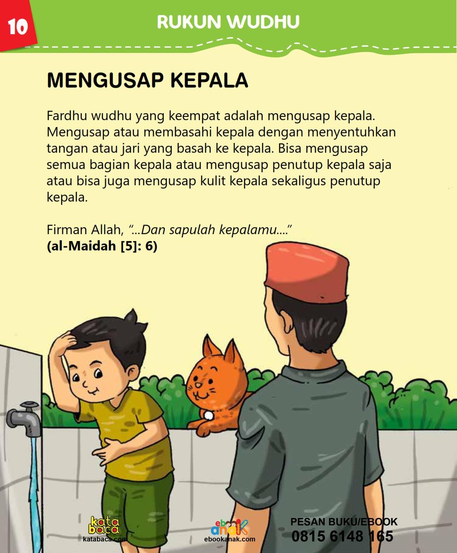 baca buku islam online, fiqih islam bergambar for kids jilid 02_014 Bagaimana Cara Mengusap Kepala Ketika Berwudhu