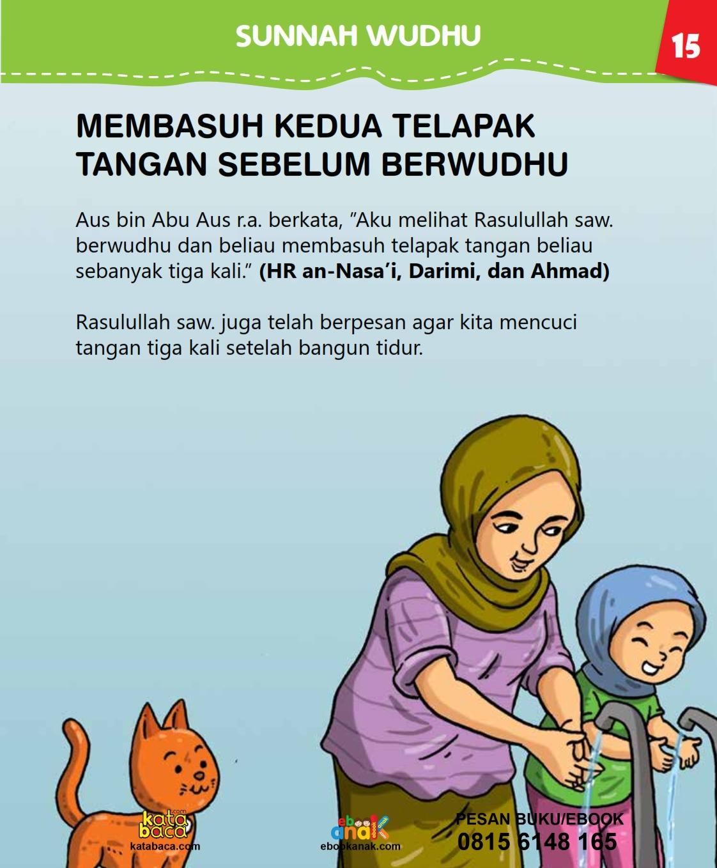 baca buku islam online, fiqih islam bergambar for kids jilid 02_019 Berapakali Nabi Membasuh Telapak Tangan Ketika Berwudhu