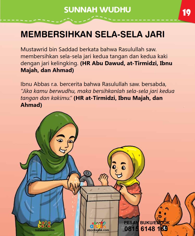 baca buku islam online, fiqih islam bergambar for kids jilid 02_023 Apakah Nabi Pernah Membersihkan Sela-Sela Jari Saat Wudhu