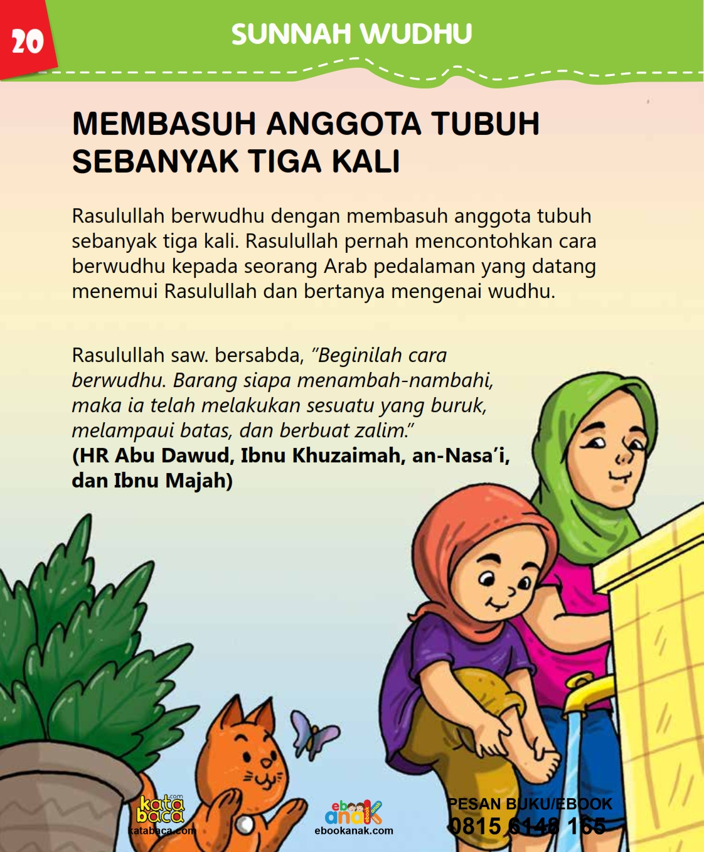 baca buku islam online, fiqih islam bergambar for kids jilid 02_024 Apakah Nabi Membasuh Anggota Tubuh Sebanyak Tiga Kali Saat Wudhu