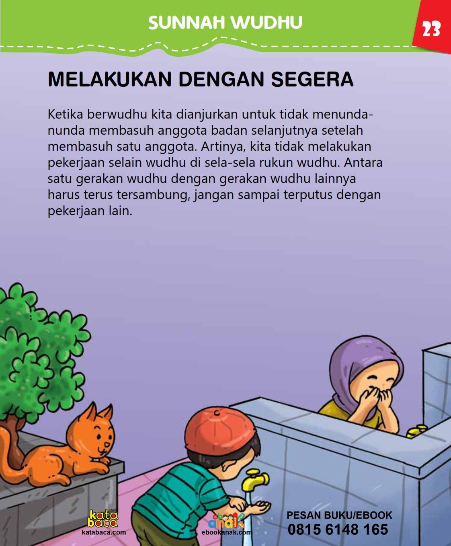 baca buku islam online, fiqih islam bergambar for kids jilid 02_027 Tidak Melakukan Pekerjaan Selain Wudhu di Sela-Sela Rukun Wudhu