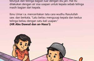 baca buku islam online, fiqih islam bergambar for kids jilid 02_028 Inilah Cara Nabi Mengusap Kedua Telinga Saat Wudhu