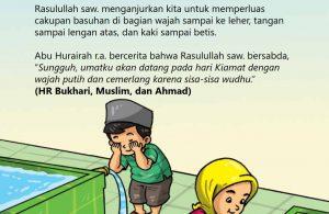 baca buku islam online, fiqih islam bergambar for kids jilid 02_029 Nabi Memperluas Cakupan Basuhan di Wajah, Lengan, dan Kaki Saat Wudhu