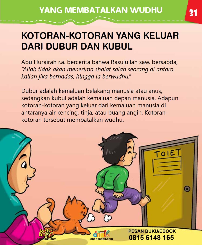 baca buku islam online, fiqih islam bergambar for kids jilid 02_035 Jenis-Jenis Kotoran yang Membatalkan Wudhu