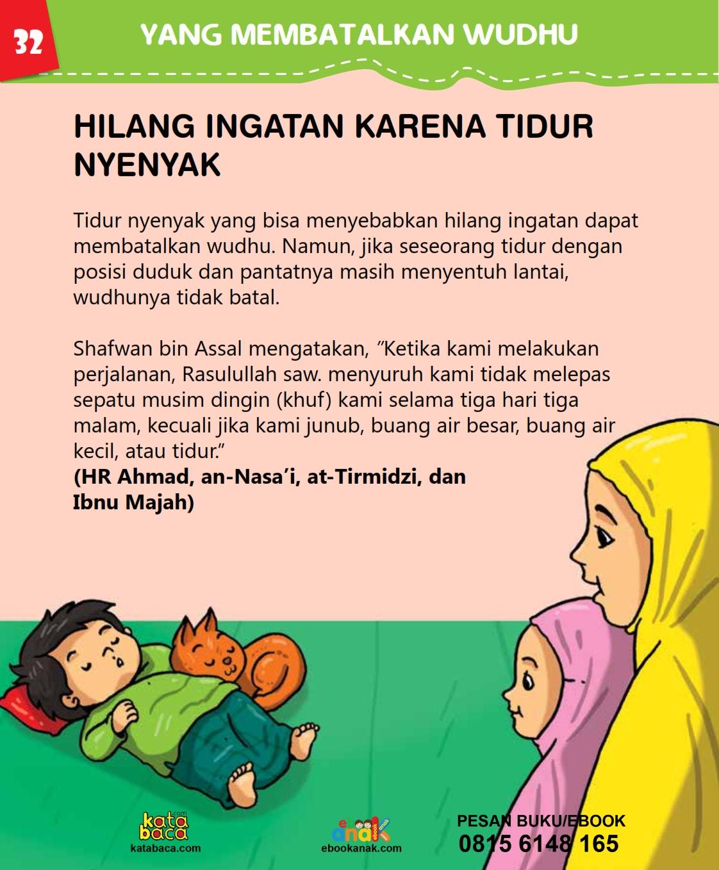baca buku islam online, fiqih islam bergambar for kids jilid 02_036 Hilang Ingatan Karena Tidur Nyenyak Membatalkan Wudhu