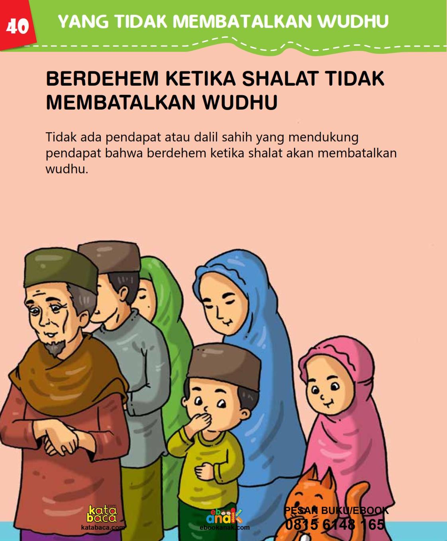 baca buku islam online, fiqih islam bergambar for kids jilid 02_044 Berdehem Ketika Shalat tidak Membatalkan Wudhu