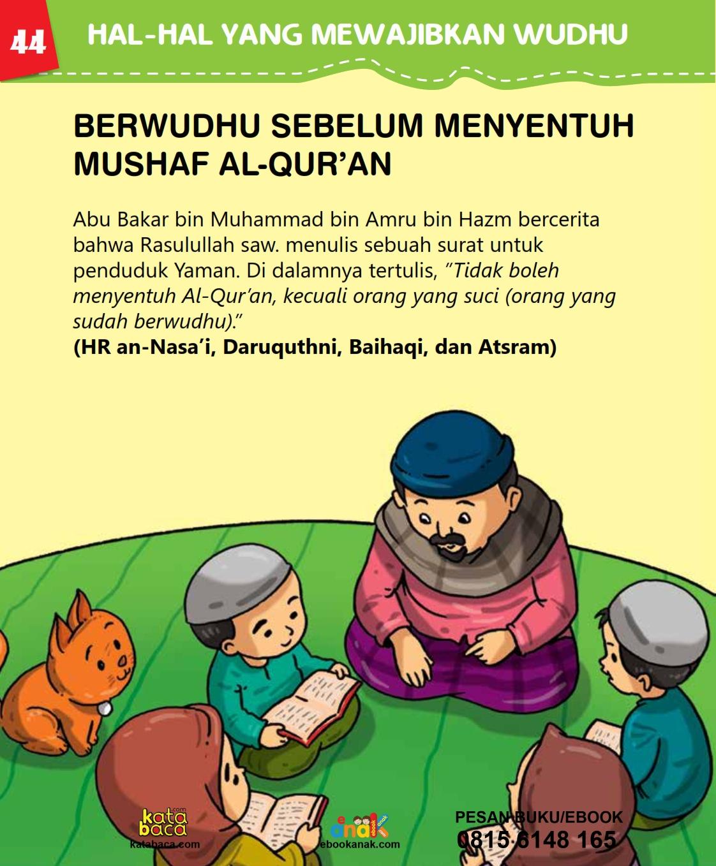 baca buku islam online, fiqih islam bergambar for kids jilid 02_048 Bolehkah Menyentuh Al-Qur'an Tanpa Berwudhu Dulu