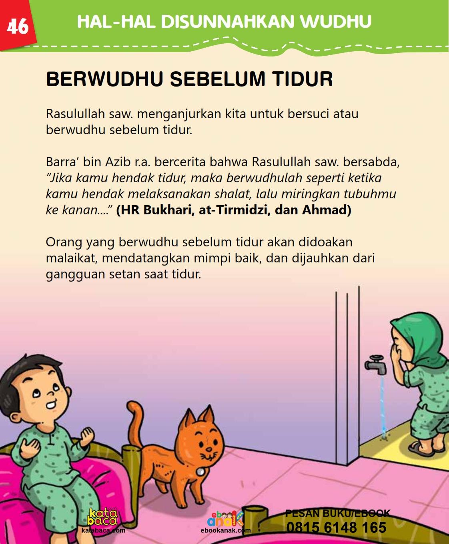 baca buku islam online, fiqih islam bergambar for kids jilid 02_050 Apa Saja Manfaat Berwudhu Sebelum Tidur