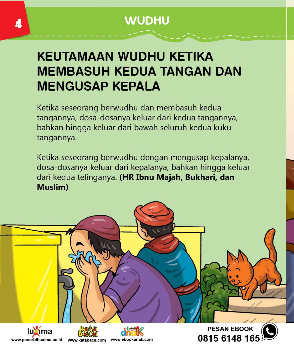 baca buku islam online, fiqih islam bergambar for kids jilid 28 Apa Keutamaan Mengusap Kedua Tangan Ketika Wudhu