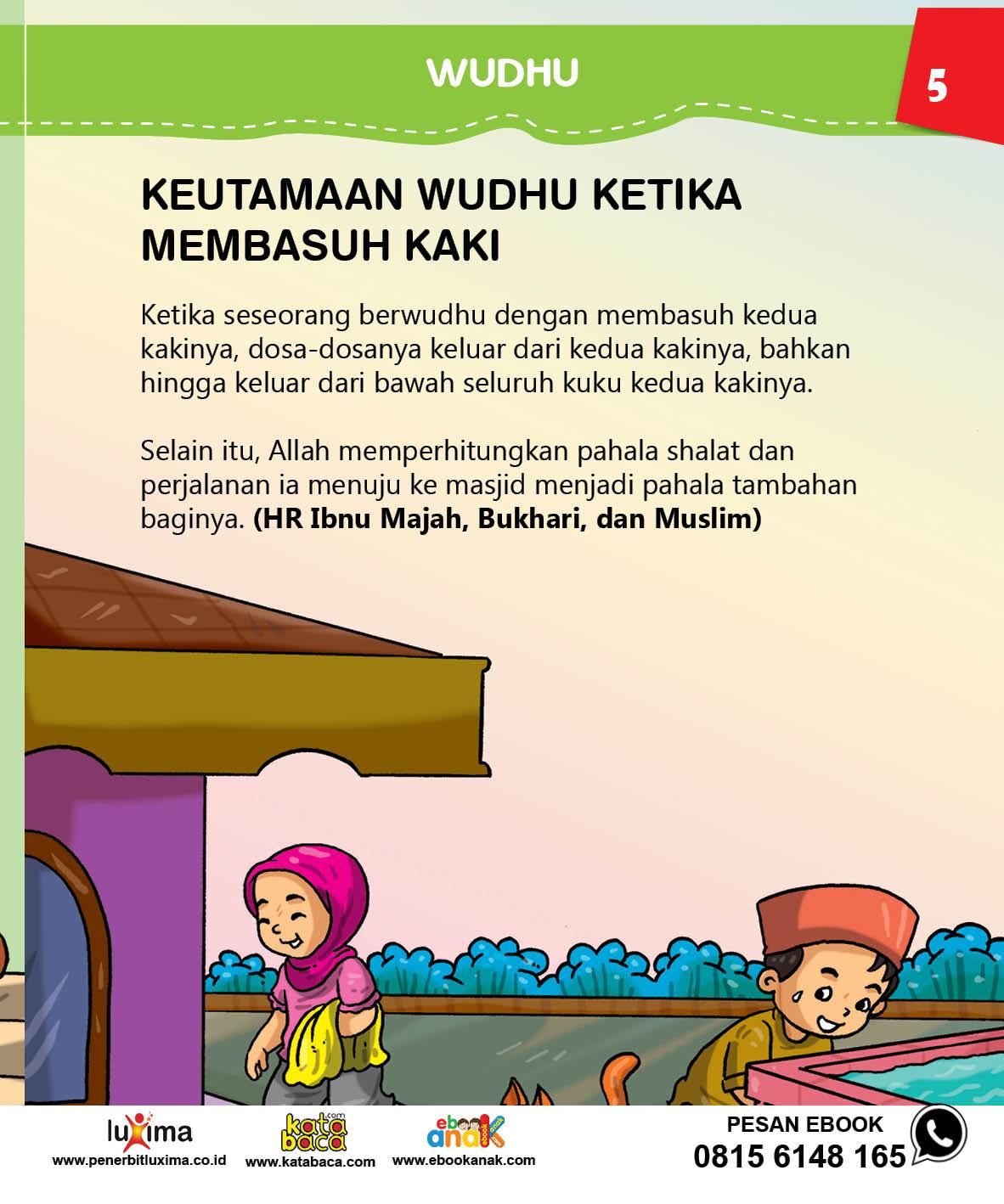 baca buku islam online, fiqih islam bergambar for kids jilid 29 Apa Keutamaan Berwudhu Membasuh Kaki