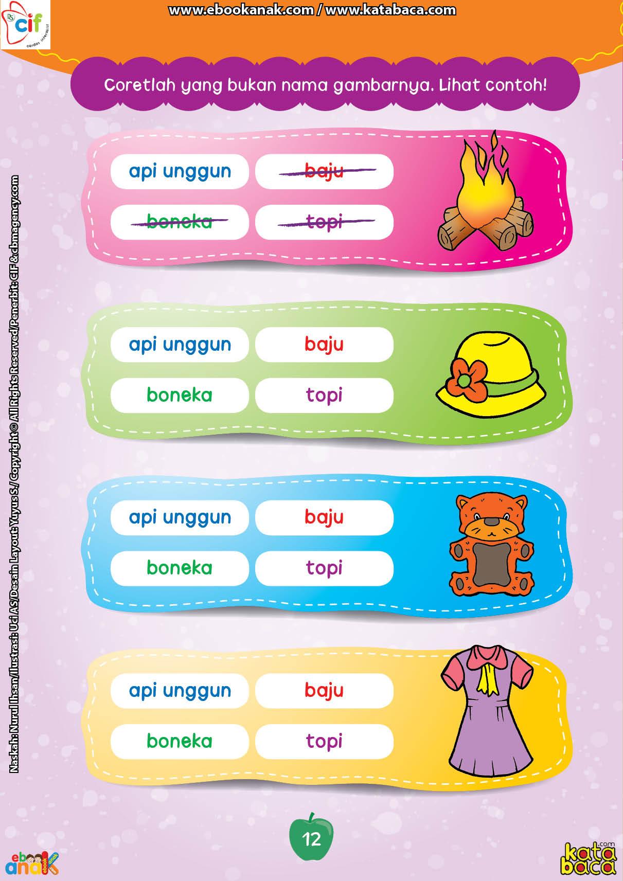 baca buku online brain games calistung12 Mencari Kata atau Kalimat yang Sesuai dengan Gambar