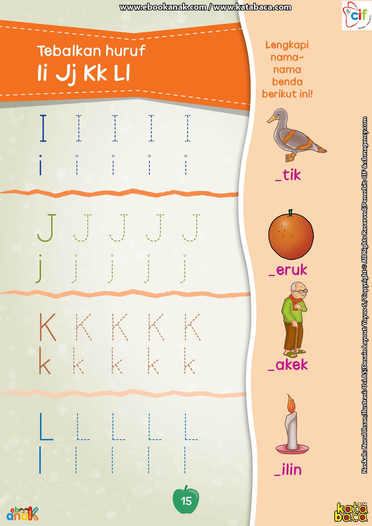 baca buku online brain games calistung15 Menebalkan Huruf IJKL dan melengkapi Nama-Nama Benda