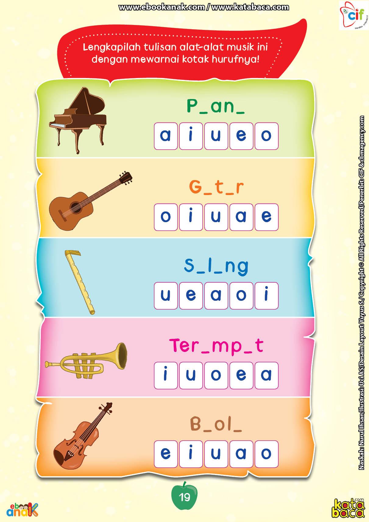 baca buku online brain games calistung19 Melengkapi Nama-Nama Alat Musik dan Mewarnainya