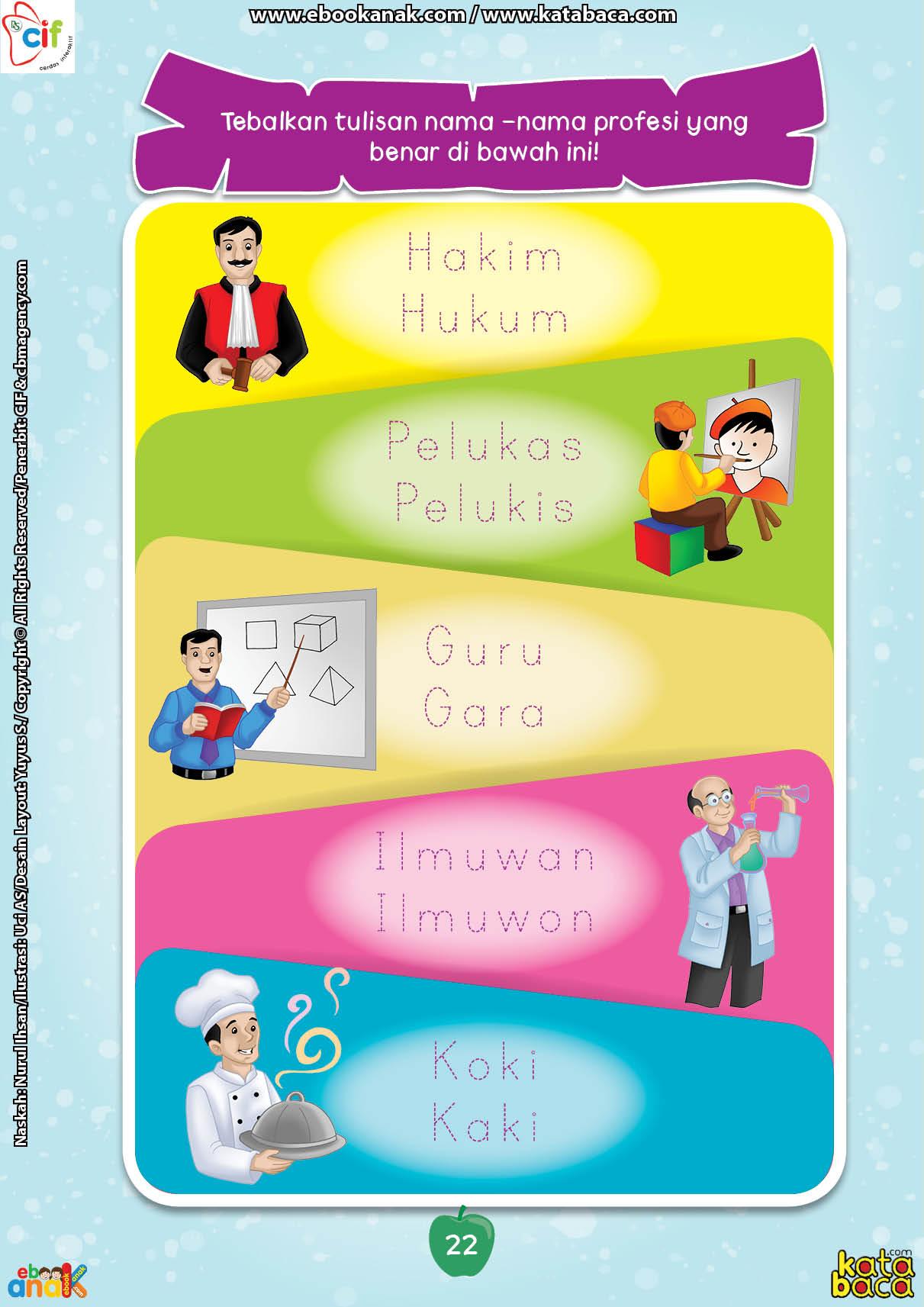 baca buku online brain games calistung22 Menebalkan Tulisan Nama-Nama Profesi yang Benar