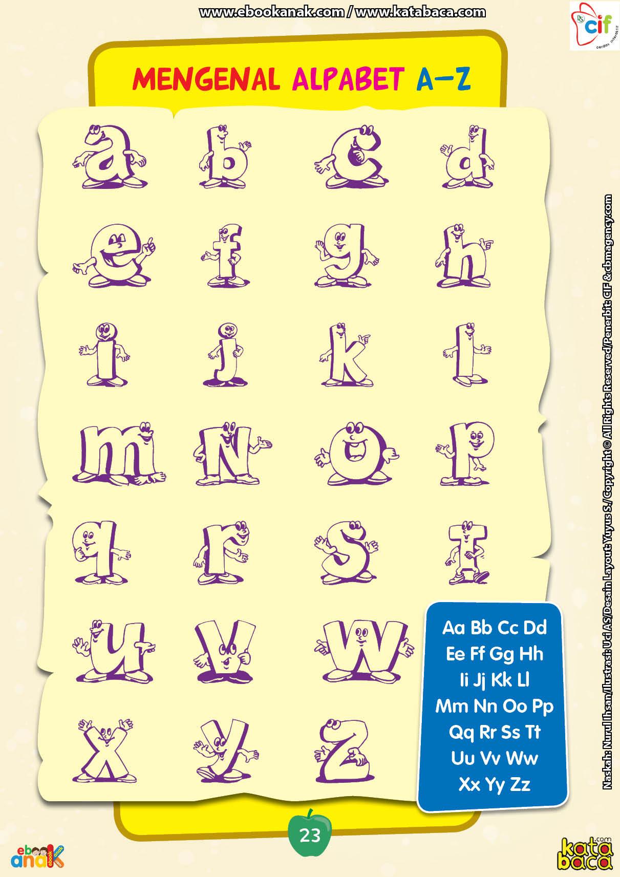 baca buku online brain games calistung23 Belajar Mengenal Nama-Nama Huruf Alfabet dari A-Z