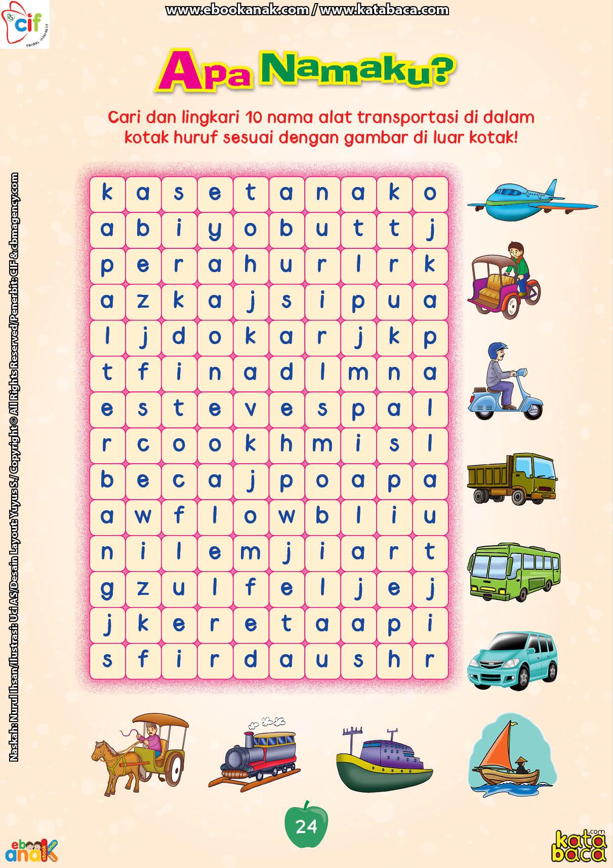 baca buku online brain games calistung24 Mencari dan Melingkari Nama-Nama Alat Transportasi