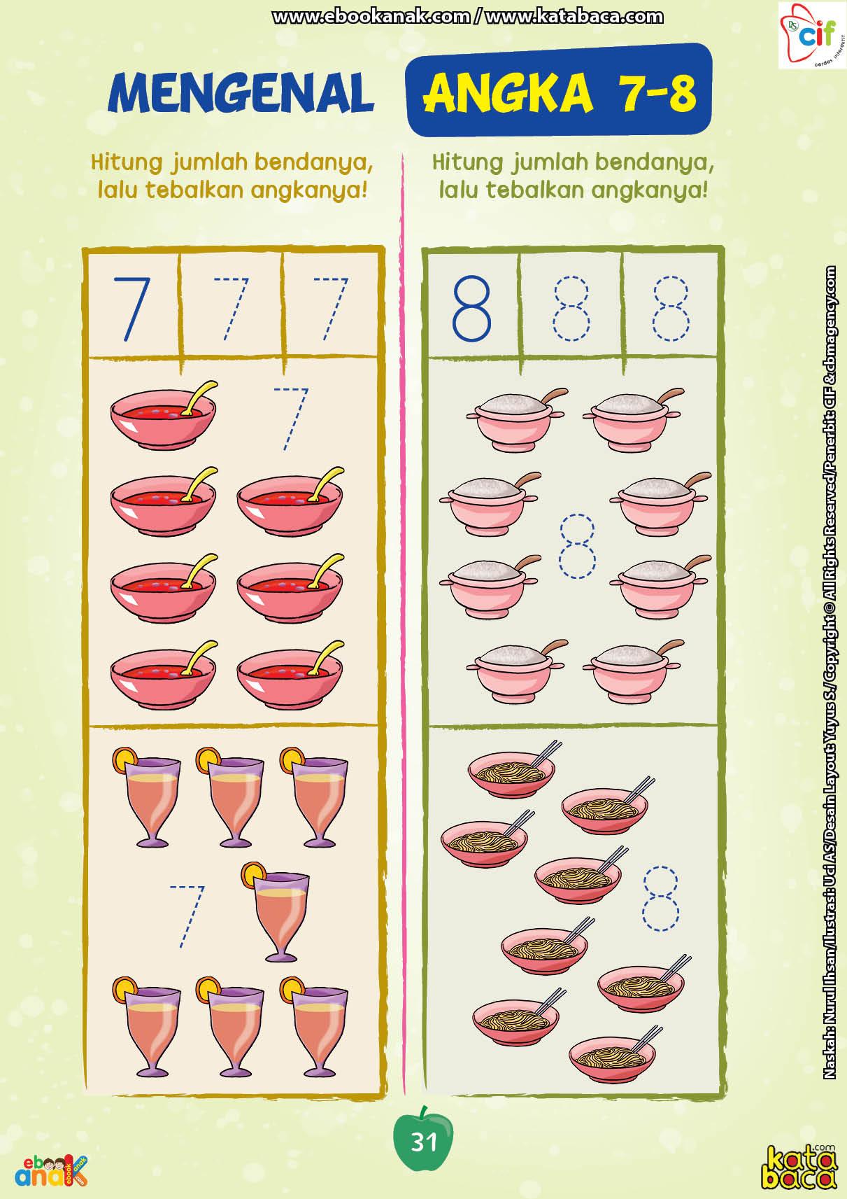 baca buku online brain games calistung31 Menghitung Jumlah Benda dan Menebalkan Angka 7 dan 8