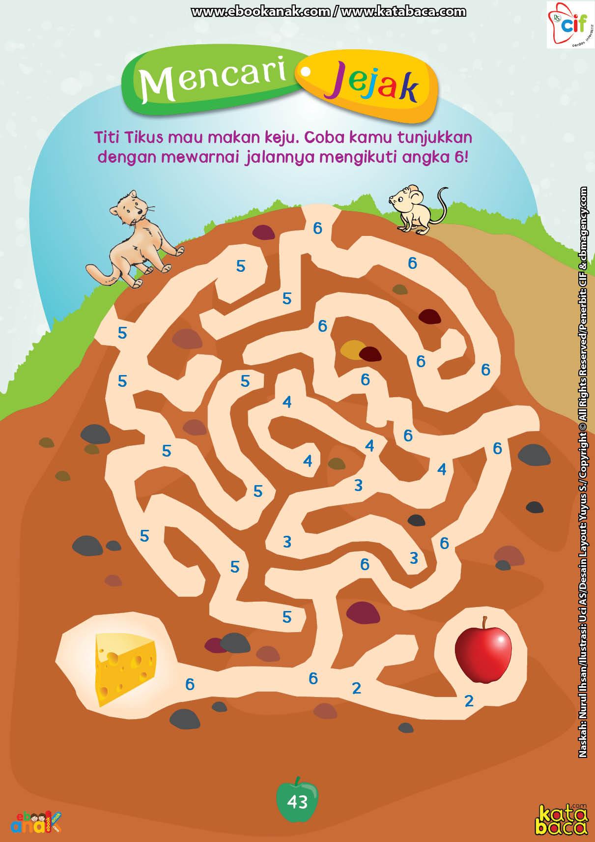 baca buku online brain games calistung43 Mencari Jejak dengan Mewarnai Jalan Mengikuti Angka 6