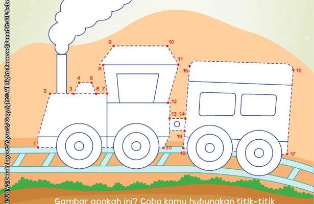 baca buku online brain games calistung48 Menghubungkan Titik-Titik Angka 1-20 dan Mewarnai Kereta Api