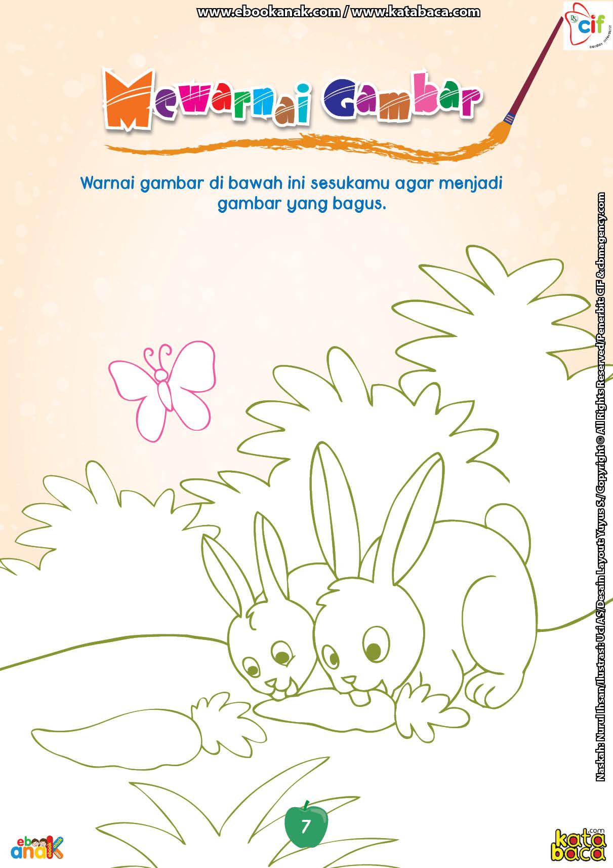 Mewarnai Gambar Dua Ekor Kelinci Yang Sedang Makan Wortel