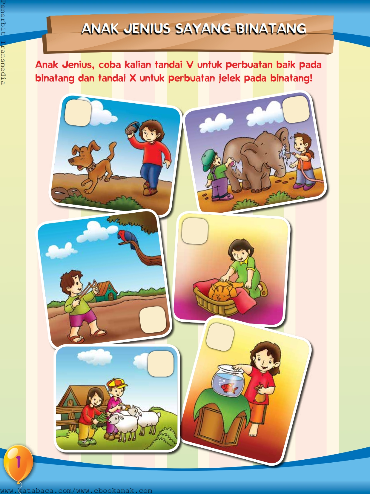 baca buku online, buku aktivitas anak jenius TK A B_004 anak jenius sayang binatang