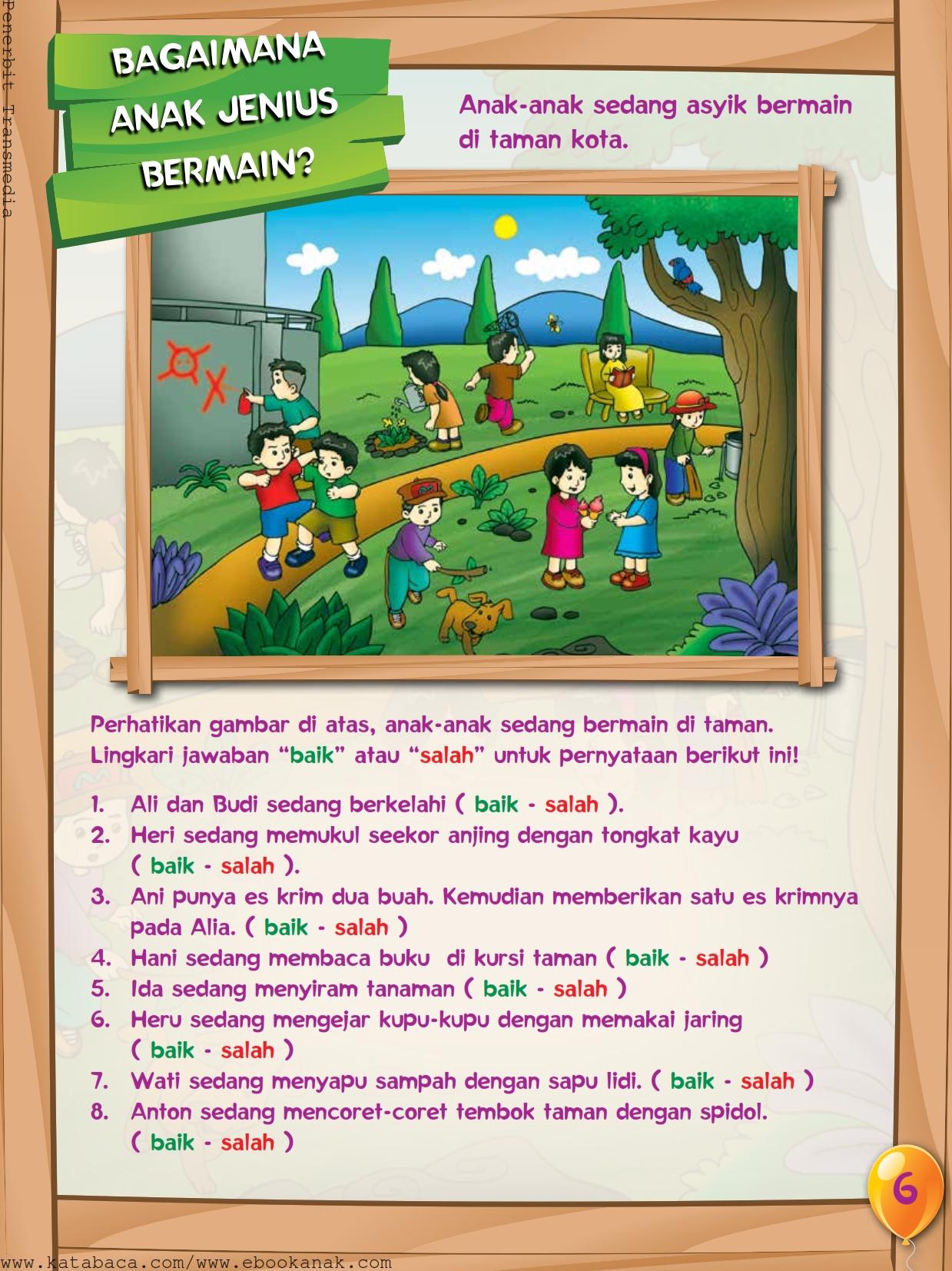 baca buku online, buku aktivitas anak jenius TK A B_009 anak jenius bermain dengan tertib dan sopan