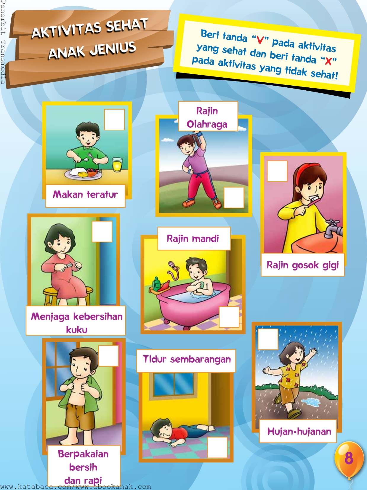 baca buku online, buku aktivitas anak jenius TK A B_011 mengenal aktivitas anak yang sehat dan tidak sehat
