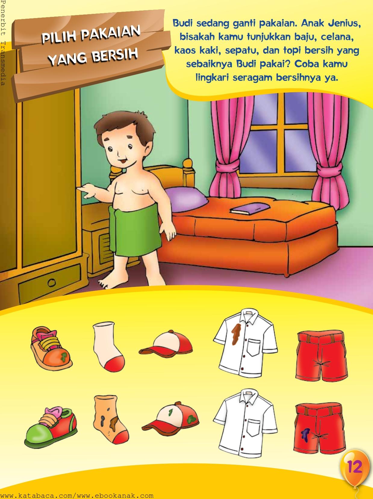 baca buku online, buku aktivitas anak jenius TK A B_015 Anak saleh bisa memakai pakaian sendiri