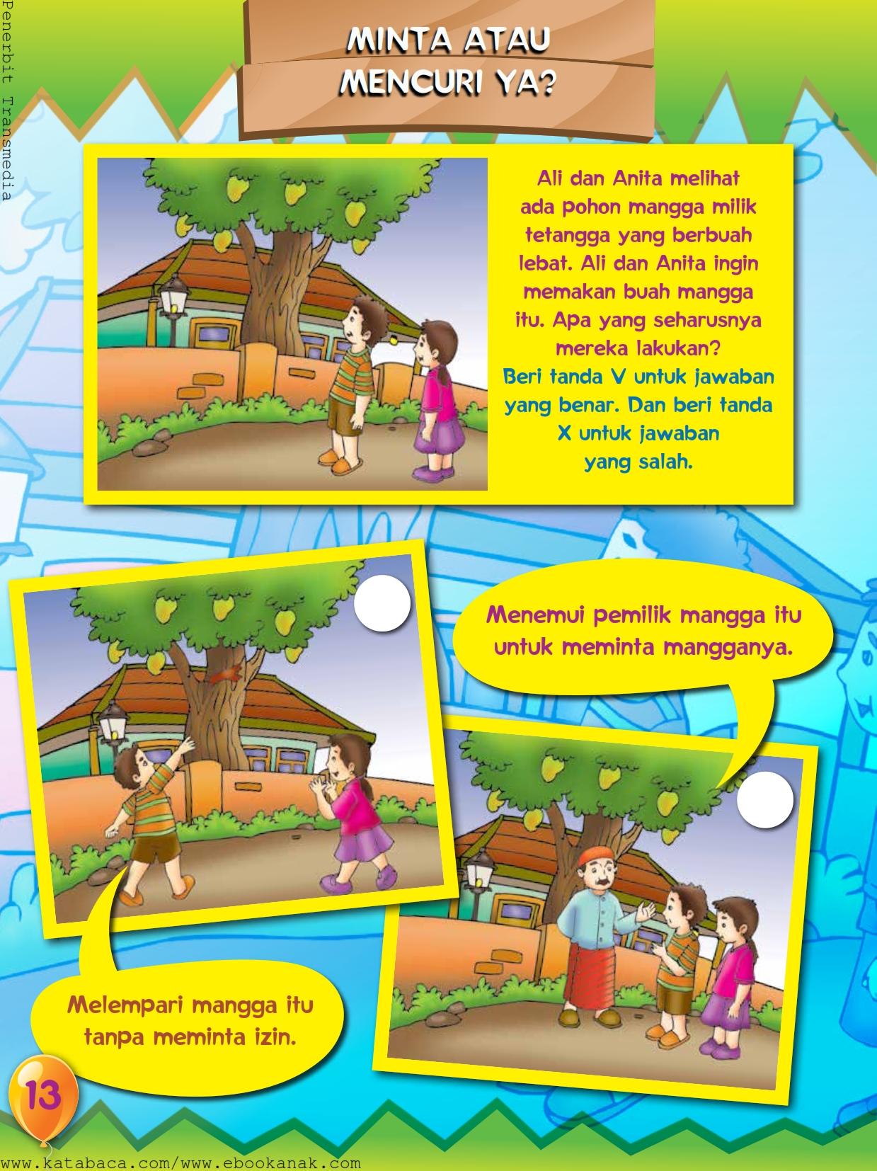 baca buku online, buku aktivitas anak jenius TK A B_016 tidak boleh mengambil milik orang lain tanpa seizinnya